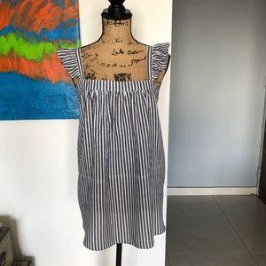 Old Navy Sleeveless Ruffle Striped Cotton Blouse